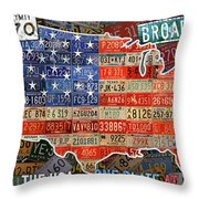 Travel The Usa One Plate At A Time License Plate Art By Design Turnpike Throw Pillow