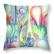 Travel To Planet Of Ball-shaped Flowers Throw Pillow
