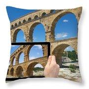 Travel To Pont Du Gard  Throw Pillow