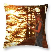 Traveler Woman In The Forest Throw Pillow