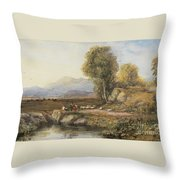 Travelers In A Welsh Landscape Throw Pillow