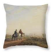 Travelers On The Road To Lancaster Throw Pillow