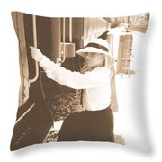 Traveling By Train - Sepia Throw Pillow