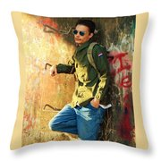 Traveling Man At Rest Throw Pillow