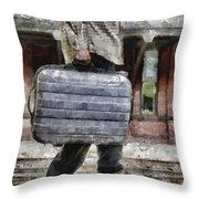 Traveling Man Throw Pillow