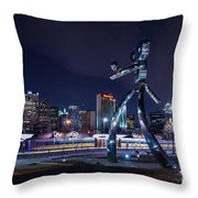 Traveling Man Stepping Out After Dark Throw Pillow