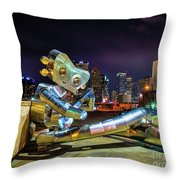 Traveling Man Takes A Break Throw Pillow