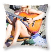 Traveling Musician Throw Pillow