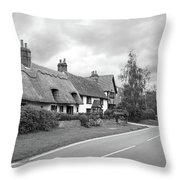 Travellers Delight - English Country Road Black And White Throw Pillow