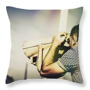 Travelling Man Looking Through Binoculars Throw Pillow