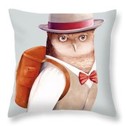Travelling Owl Throw Pillow by Animal Crew