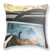 Travelling Tourist With Map Of Tasmania Throw Pillow