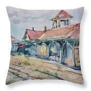 Traverse City Train Depot Throw Pillow