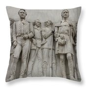 Travis And Crockett On Alamo Monument Throw Pillow