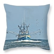 Trawler Homeward Bound Throw Pillow