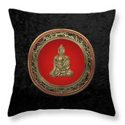 Treasure Trove - Gold Buddha On Black Velvet Throw Pillow