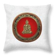 Treasure Trove - Gold Buddha On White Leather Throw Pillow