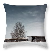 Tree And A Barn Throw Pillow