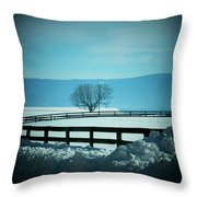 Tree And Fence In Snow Throw Pillow