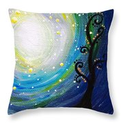 Tree And Moonstars Throw Pillow
