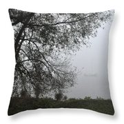 Tree And Moored Boat Throw Pillow