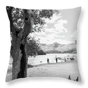 Tree And People By The Lake Throw Pillow