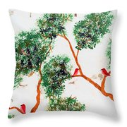 Tree And Red Birds 2 Throw Pillow