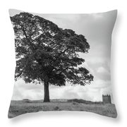 Tree And The Cage Tower In The Distance In Lyme Park Estate In B Throw Pillow