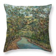 Tree Arched Road Throw Pillow