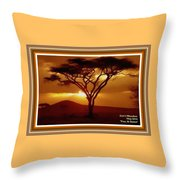 Tree At Sunset. L A With Decorative Ornate Printed Frame. Throw Pillow