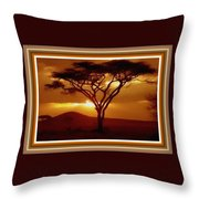 Tree At Sunset. L B With Decorative Ornate Printed Frame. Throw Pillow