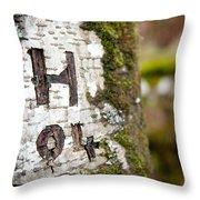 Tree Bark Graffiti - H 04 Throw Pillow