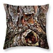 Tree Bark With Knothole Throw Pillow