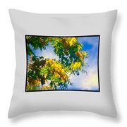 Tree Branch With Leaves In Blue Sky Throw Pillow