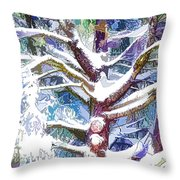 Tree Branches Covered By Snow In Winter Throw Pillow