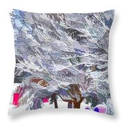 Tree Branches Covered By Snow  Throw Pillow