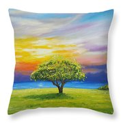 Tree By The Beach Throw Pillow