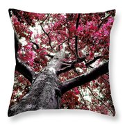 Tree Canopy Red Throw Pillow