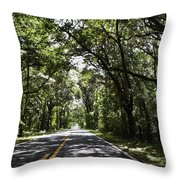 Tree Covered Road Throw Pillow
