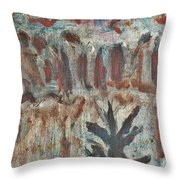 Tree Facing Frozen Lake With Roiling Storm Clouds Rolling In From The Mountain Range Winter With Fal Throw Pillow
