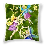 Tree Fairies On The Weeping Willow Throw Pillow