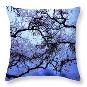 Tree Fantasy In Blue Throw Pillow