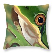 Tree Frog Eyes Throw Pillow