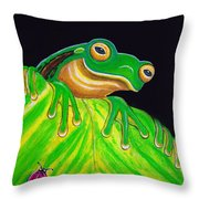 Tree Frog On A Leaf With Lady Bug Throw Pillow