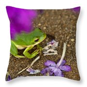 Tree Frog Under Flower Throw Pillow