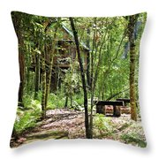 Tree House In The Woods Throw Pillow