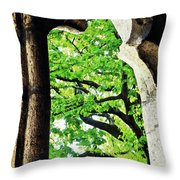Tree In A Medieval Frame Throw Pillow