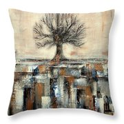 Tree In Brown And Gold Landscape Throw Pillow