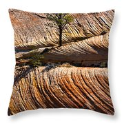 Tree In Flowing Rock Throw Pillow