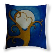Tree In Moon Light Throw Pillow